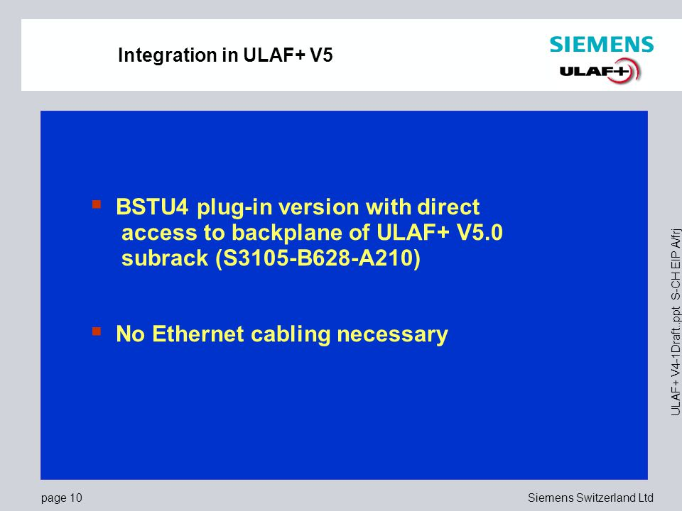 BSTU4 plug-in version with direct access to backplane of ULAF+ V5.0