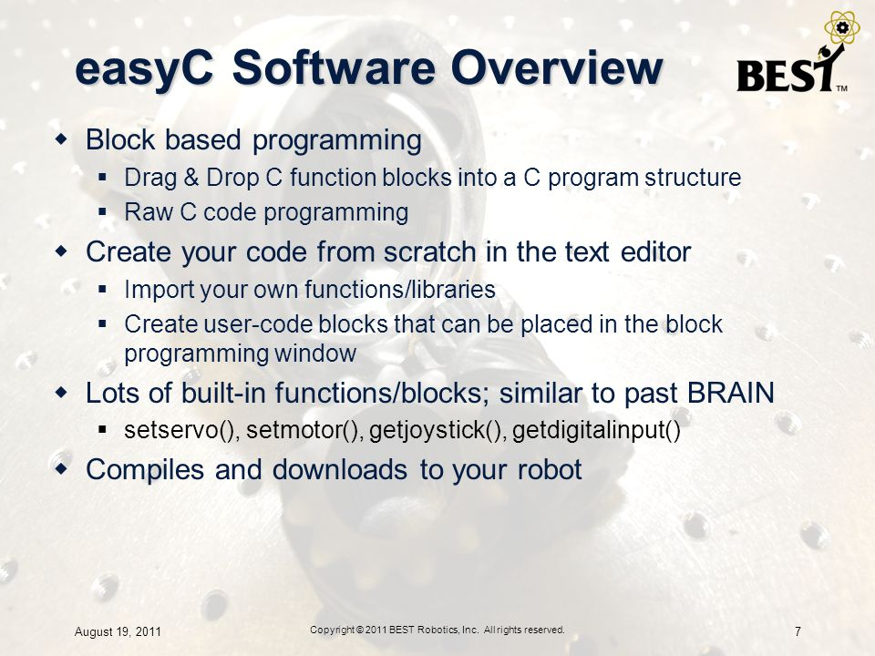 easyC Software Overview