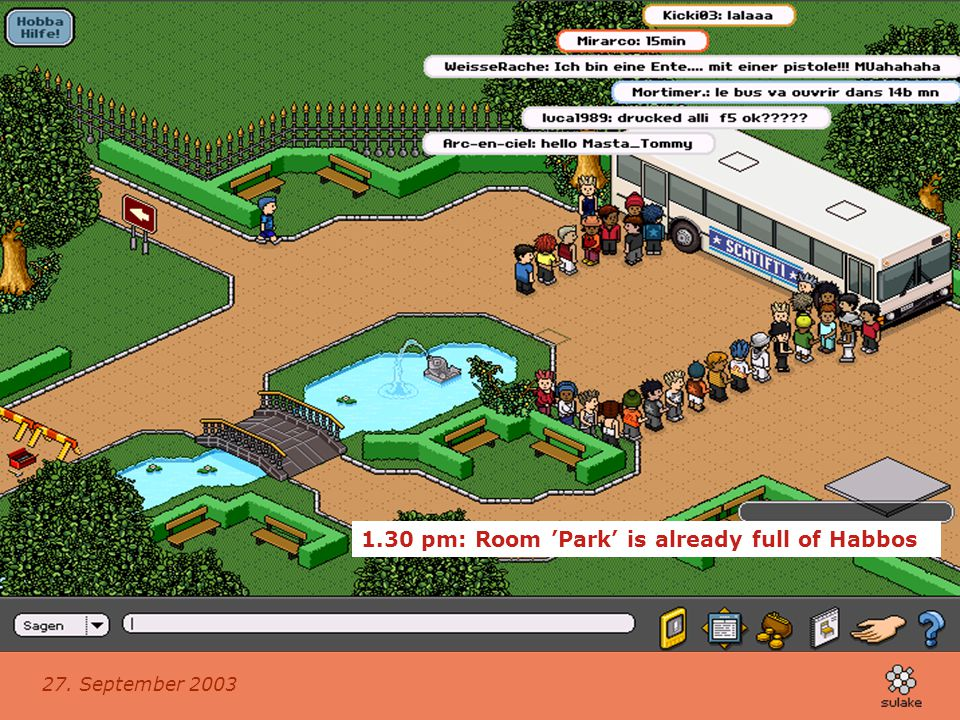 1.30 pm: Room 'Park' is already full of Habbos