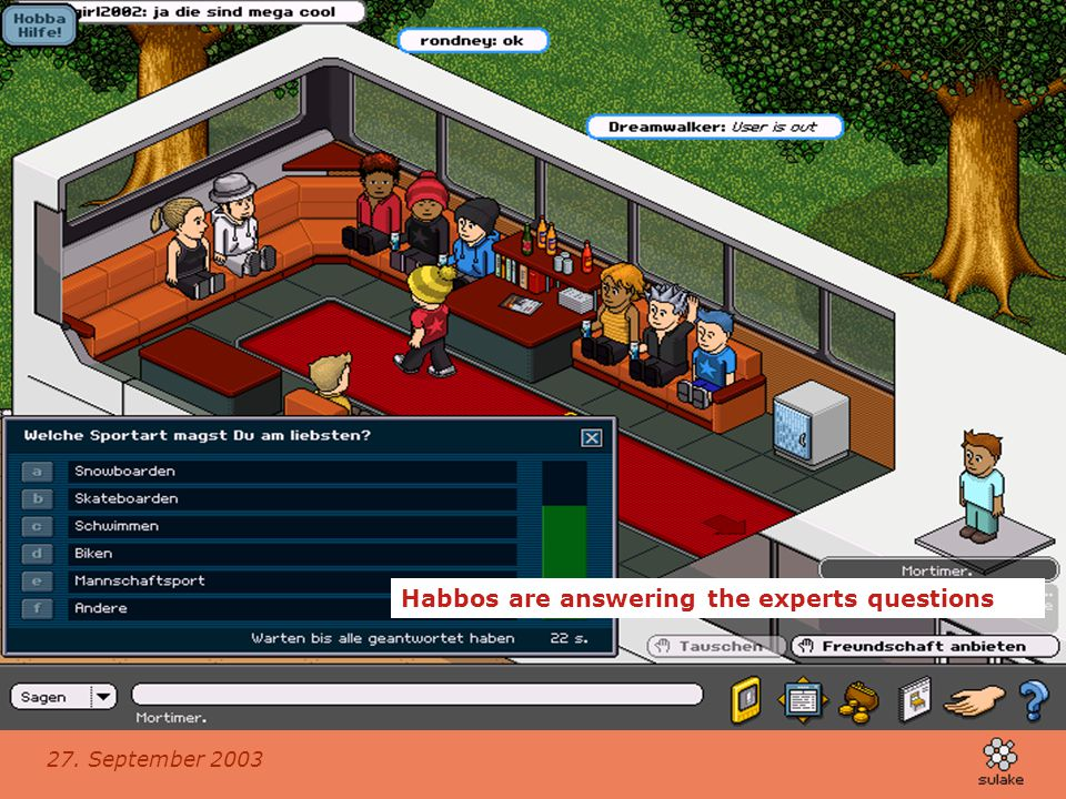 Habbos are answering the experts questions