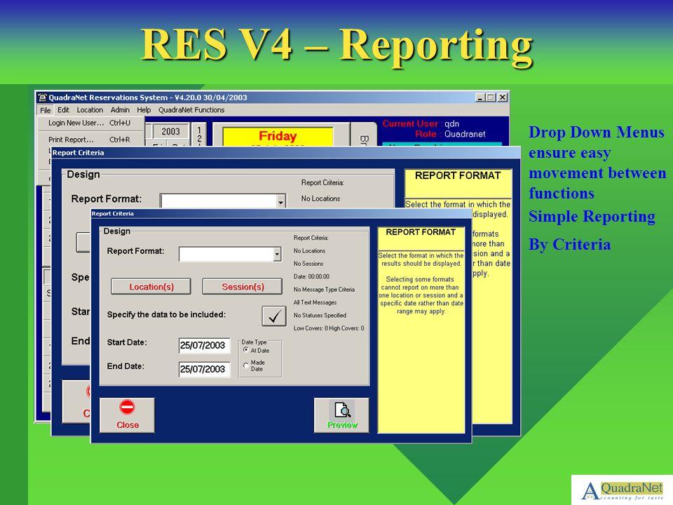 RES V4 – Reporting Drop Down Menus ensure easy movement between functions.