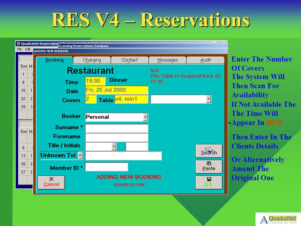 RES V4 – Reservations Enter The Number Of Covers