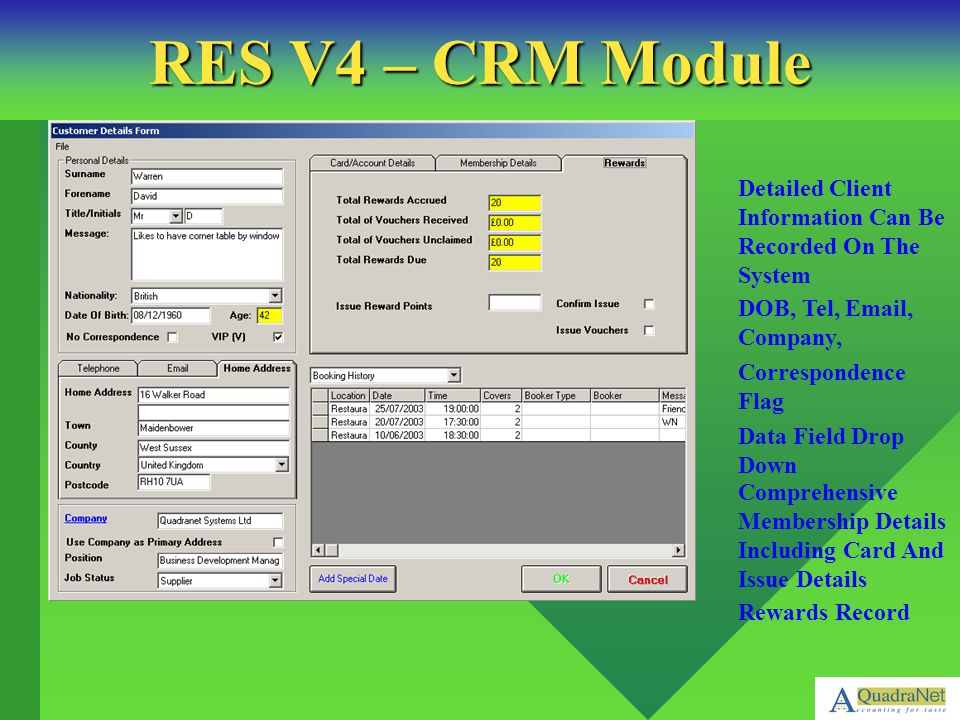 RES V4 – CRM Module Rewards Record. Comprehensive Membership Details Including Card And Issue Details.