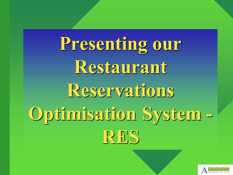 Presenting our Restaurant Reservations Optimisation System - RES