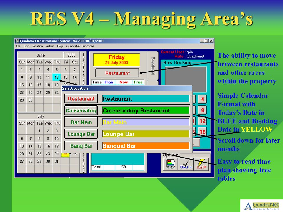 RES V4 – Managing Area's The ability to move between restaurants and other areas within the property.