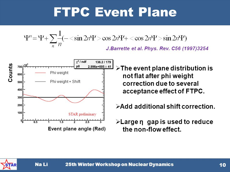 FTPC Event Plane The event plane distribution is