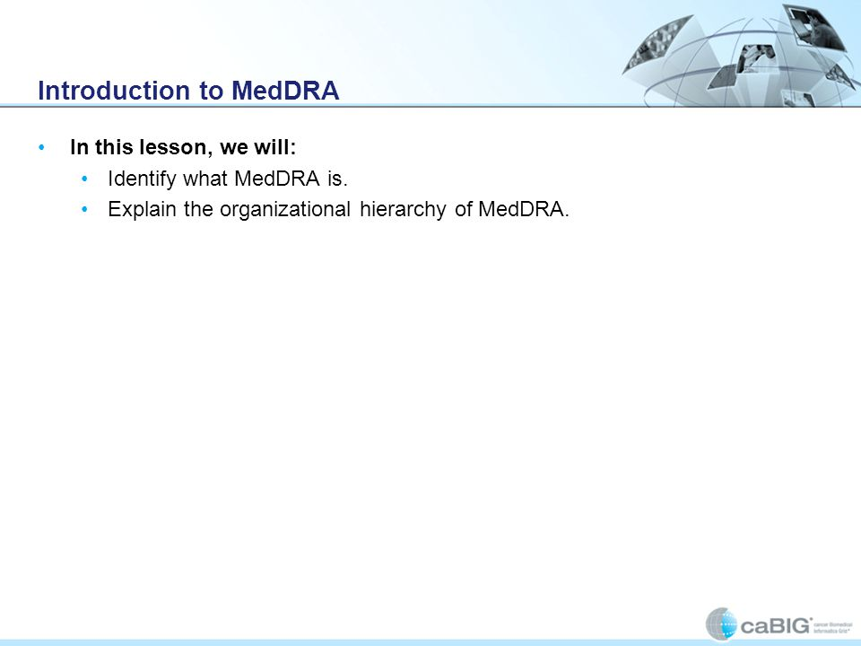 Introduction to MedDRA