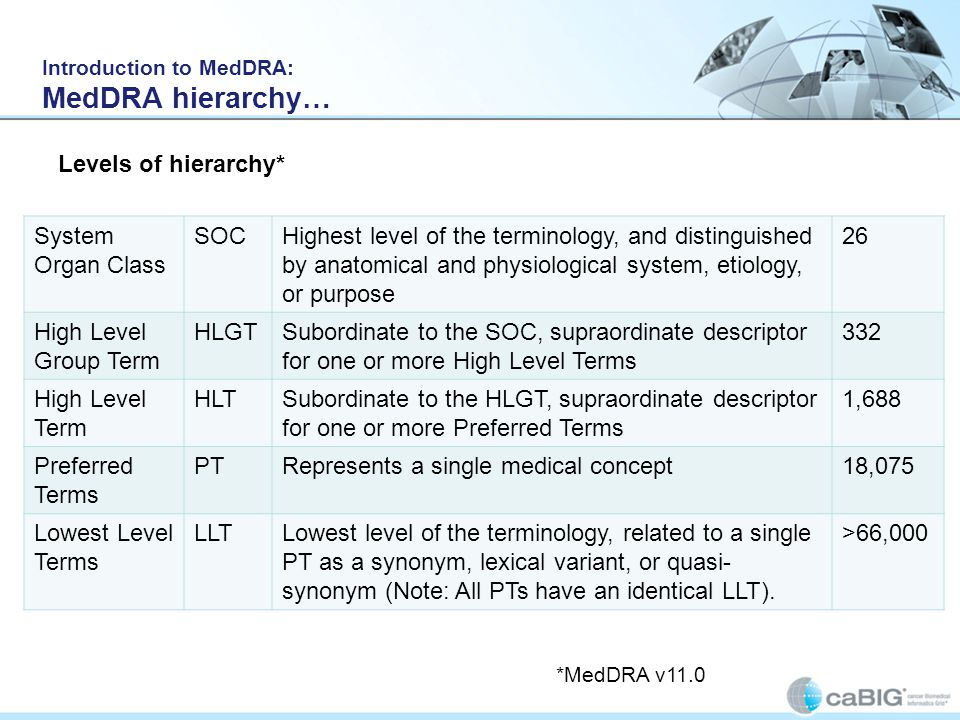 Introduction to MedDRA: MedDRA hierarchy…