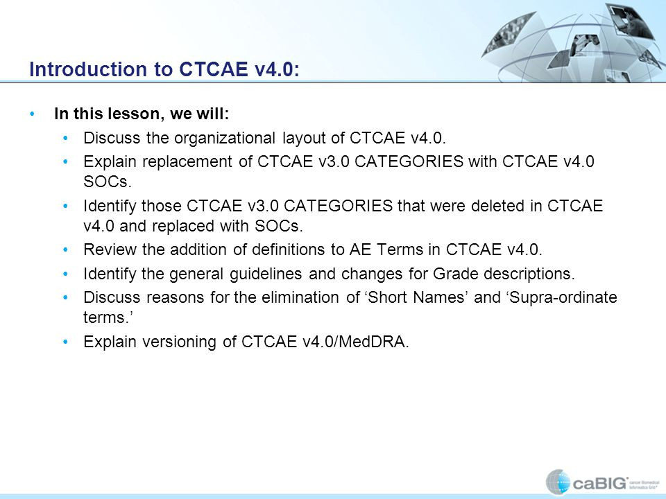 Introduction to CTCAE v4.0: