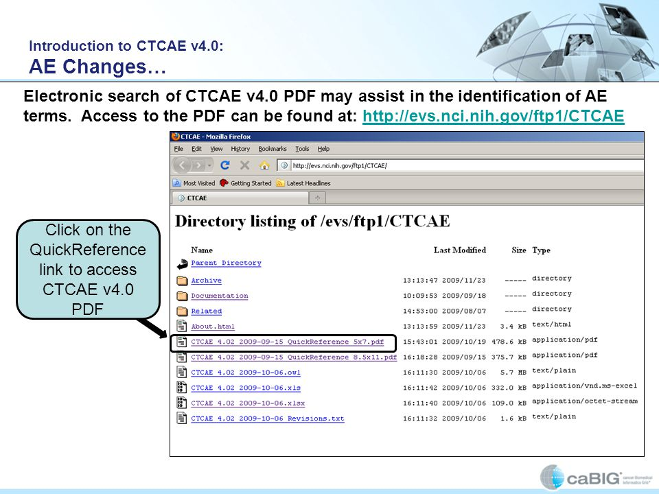 Click on the QuickReference link to access CTCAE v4.0 PDF