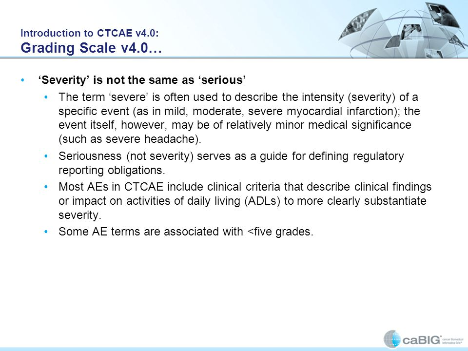Introduction to CTCAE v4.0: Grading Scale v4.0…
