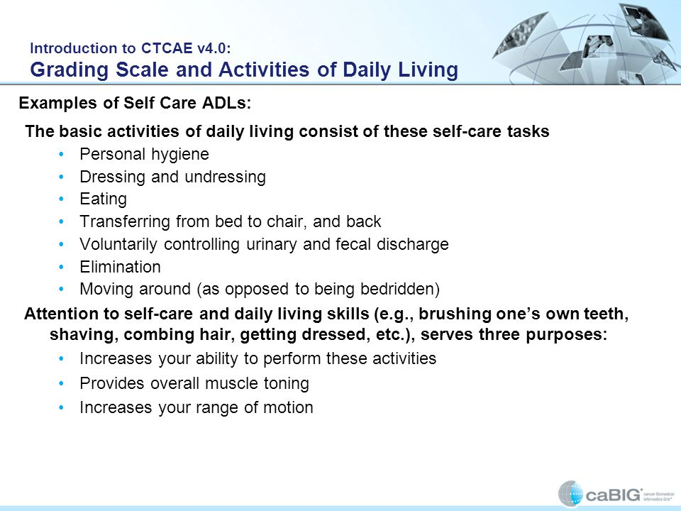 Examples of Self Care ADLs: