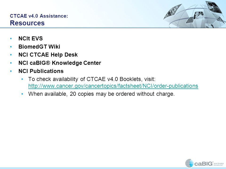 CTCAE v4.0 Assistance: Resources