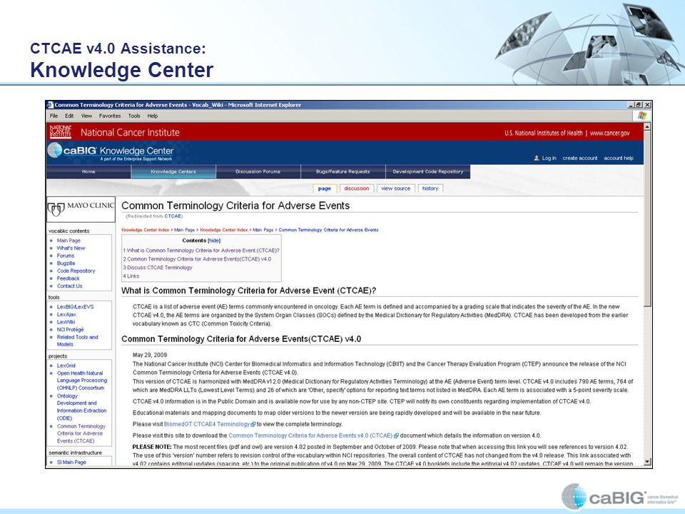 CTCAE v4.0 Assistance: Knowledge Center