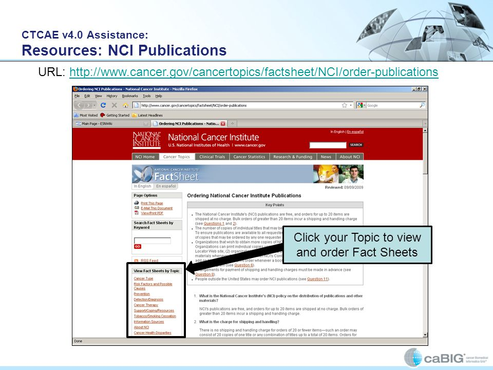 CTCAE v4.0 Assistance: Resources: NCI Publications
