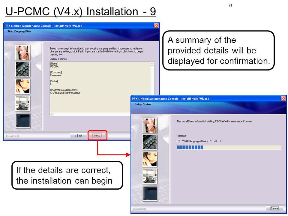 U-PCMC (V4.x) Installation - 9