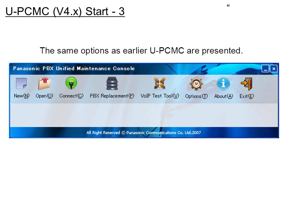 The same options as earlier U-PCMC are presented.