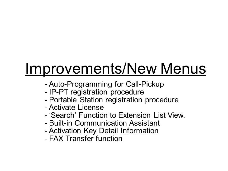 Improvements/New Menus