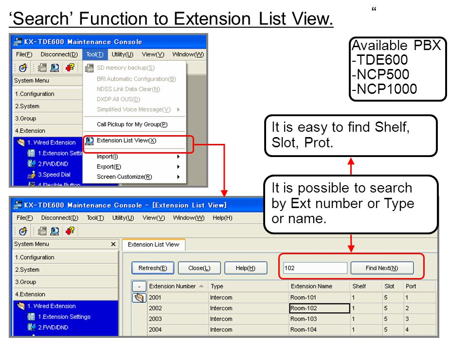 'Search' Function to Extension List View.