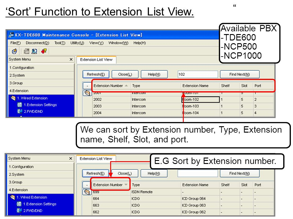 'Sort' Function to Extension List View.