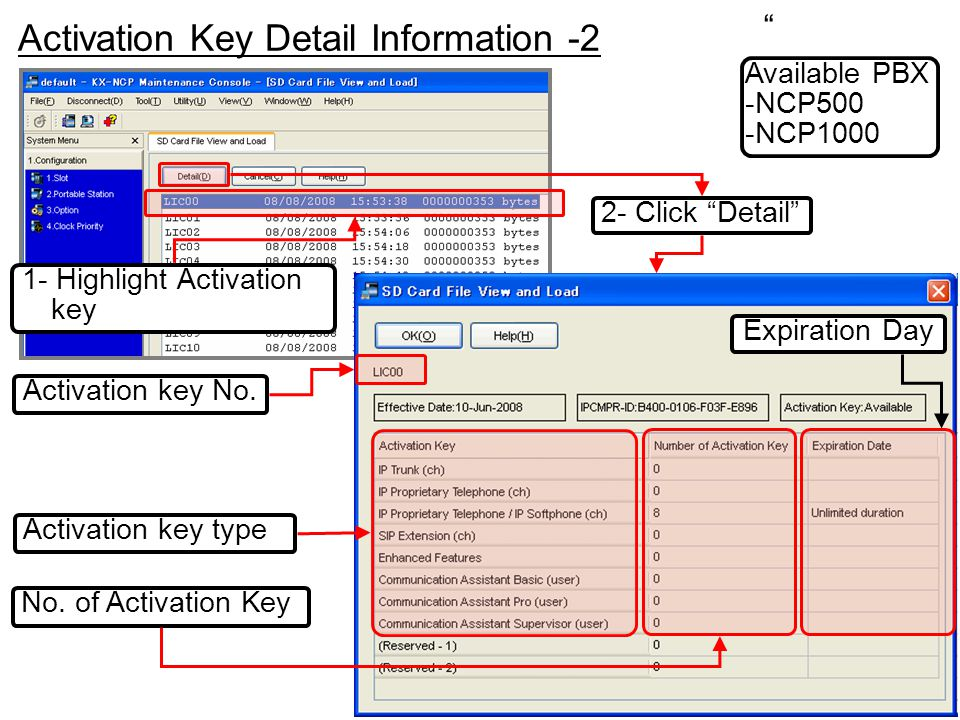 Activation Key Detail Information -2