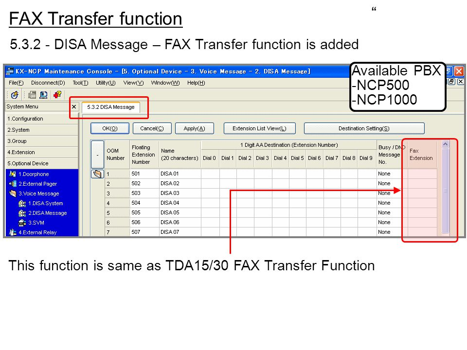 FAX Transfer function