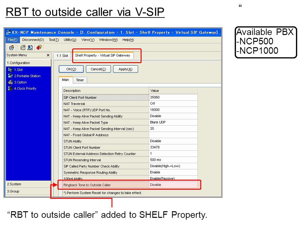 RBT to outside caller via V-SIP