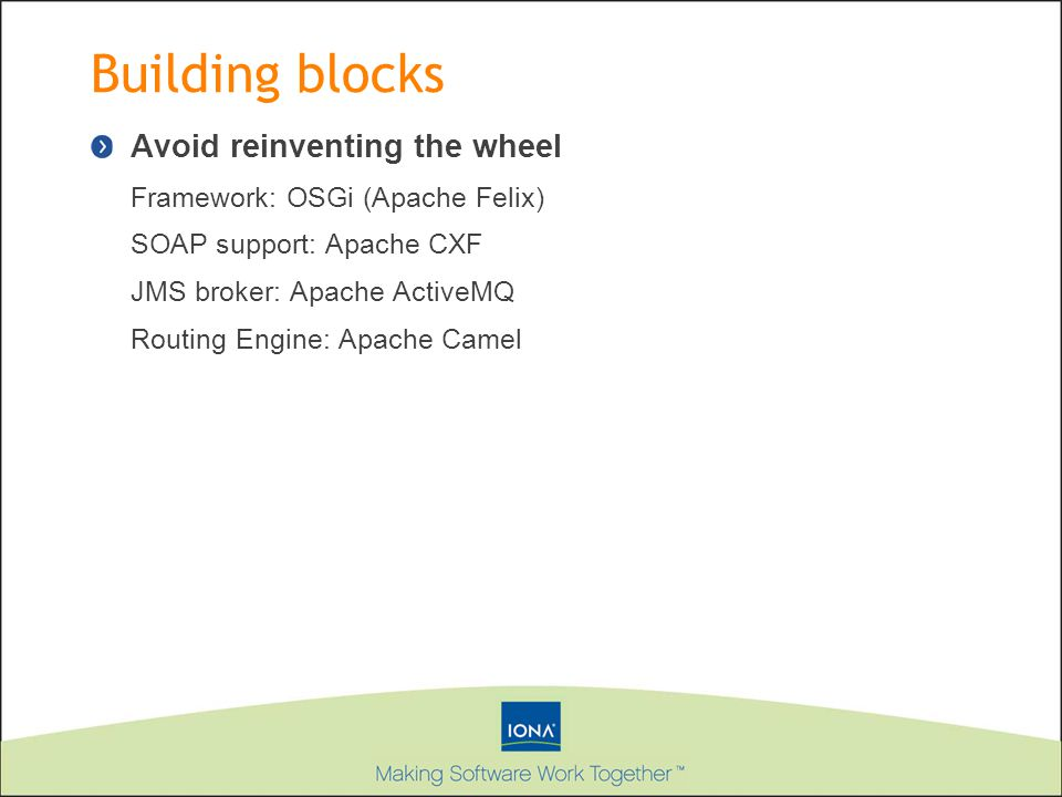 Building blocks Avoid reinventing the wheel