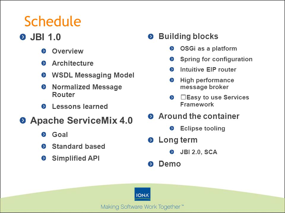 Schedule JBI 1.0 Apache ServiceMix 4.0 Building blocks