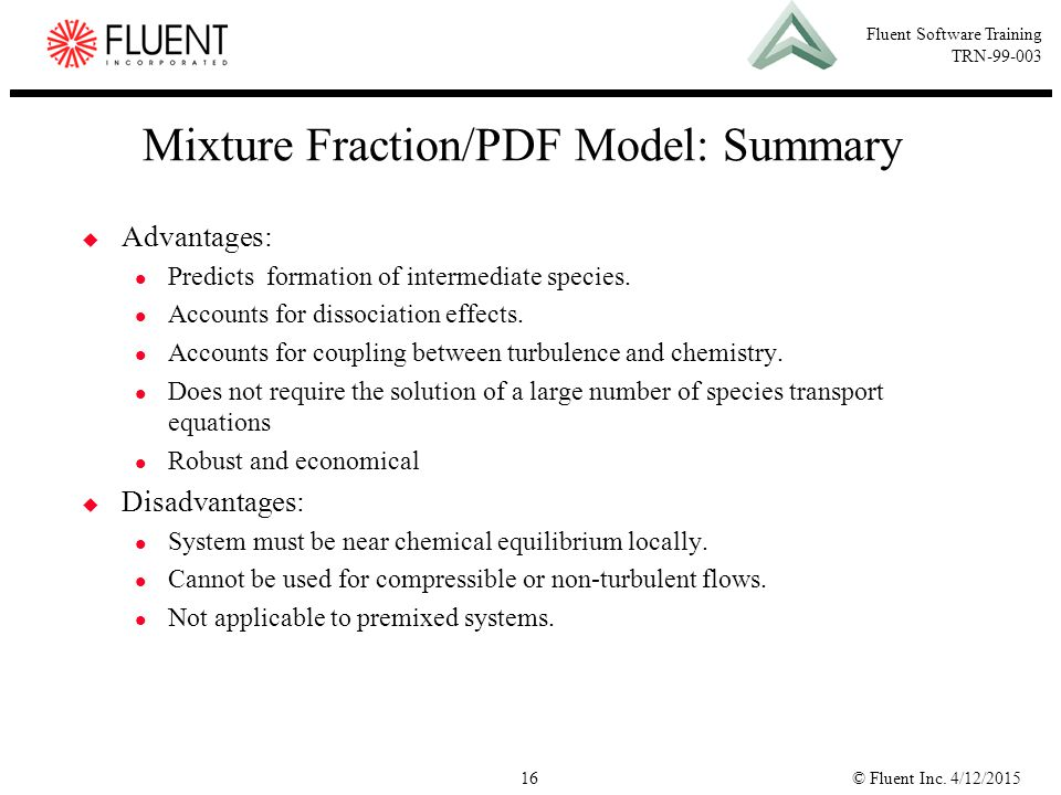 Mixture Fraction/PDF Model: Summary