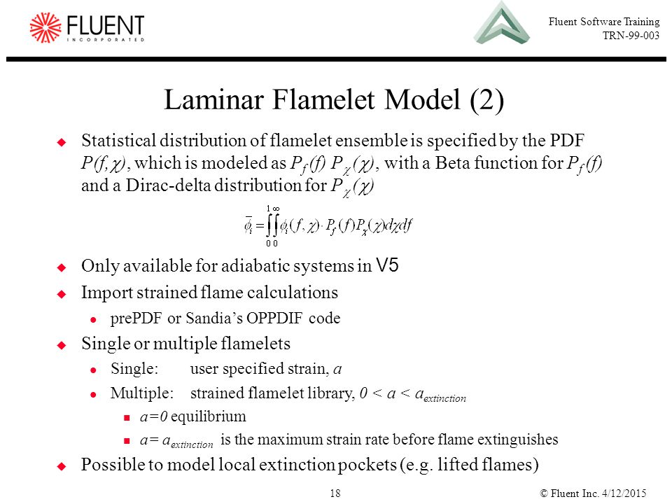 Laminar Flamelet Model (2)