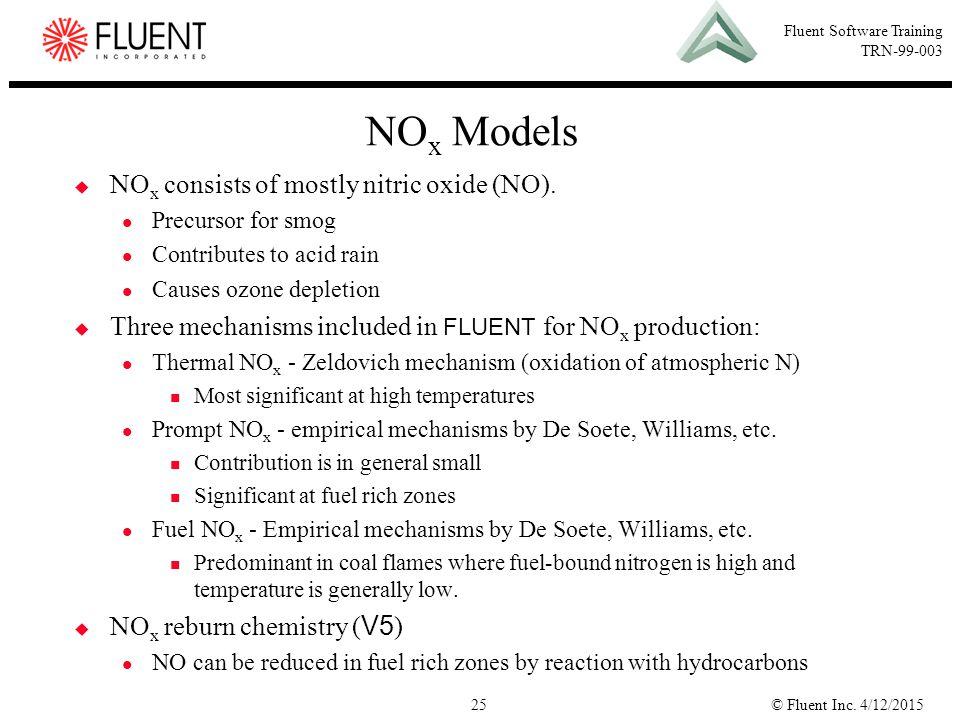 NOx Models NOx consists of mostly nitric oxide (NO).