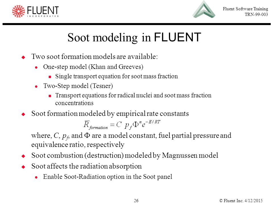 Soot modeling in FLUENT