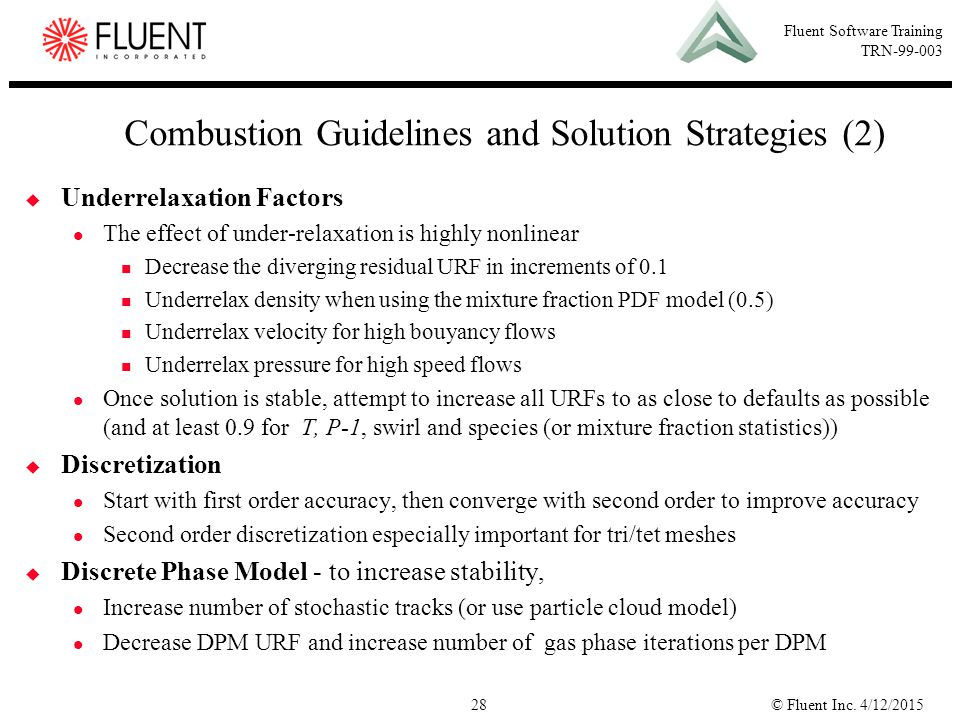 Combustion Guidelines and Solution Strategies (2)