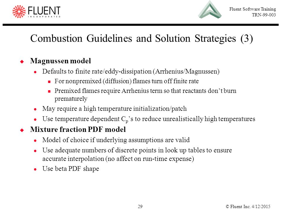 Combustion Guidelines and Solution Strategies (3)