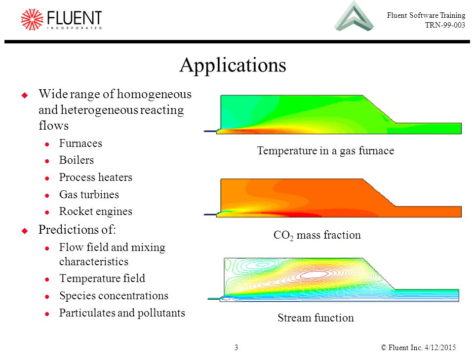 Applications Wide range of homogeneous and heterogeneous reacting flows. Furnaces. Boilers. Process heaters.
