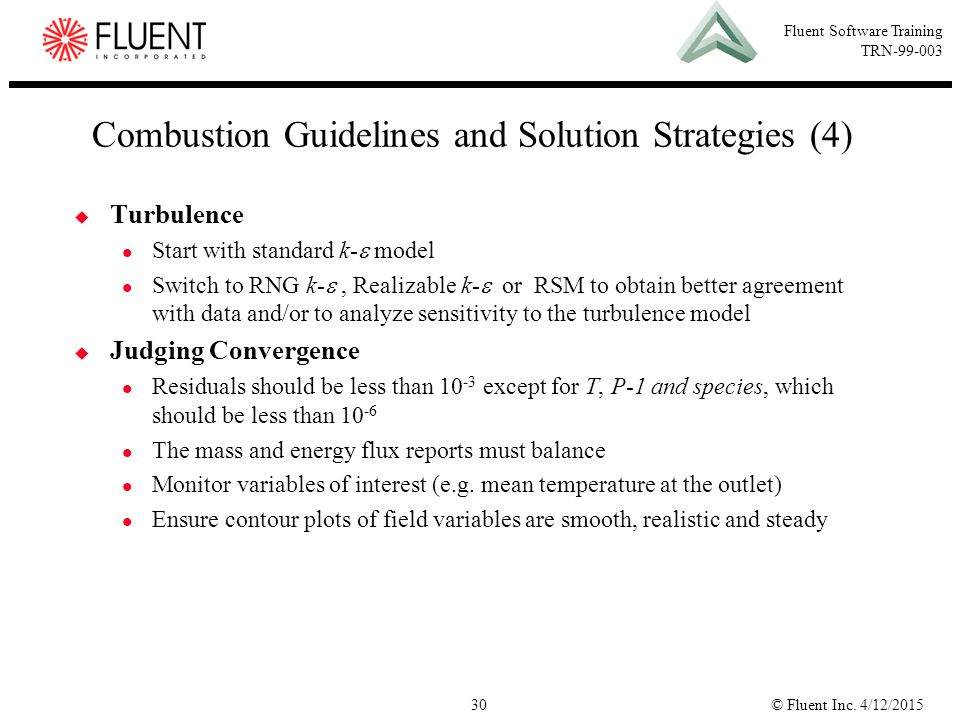 Combustion Guidelines and Solution Strategies (4)