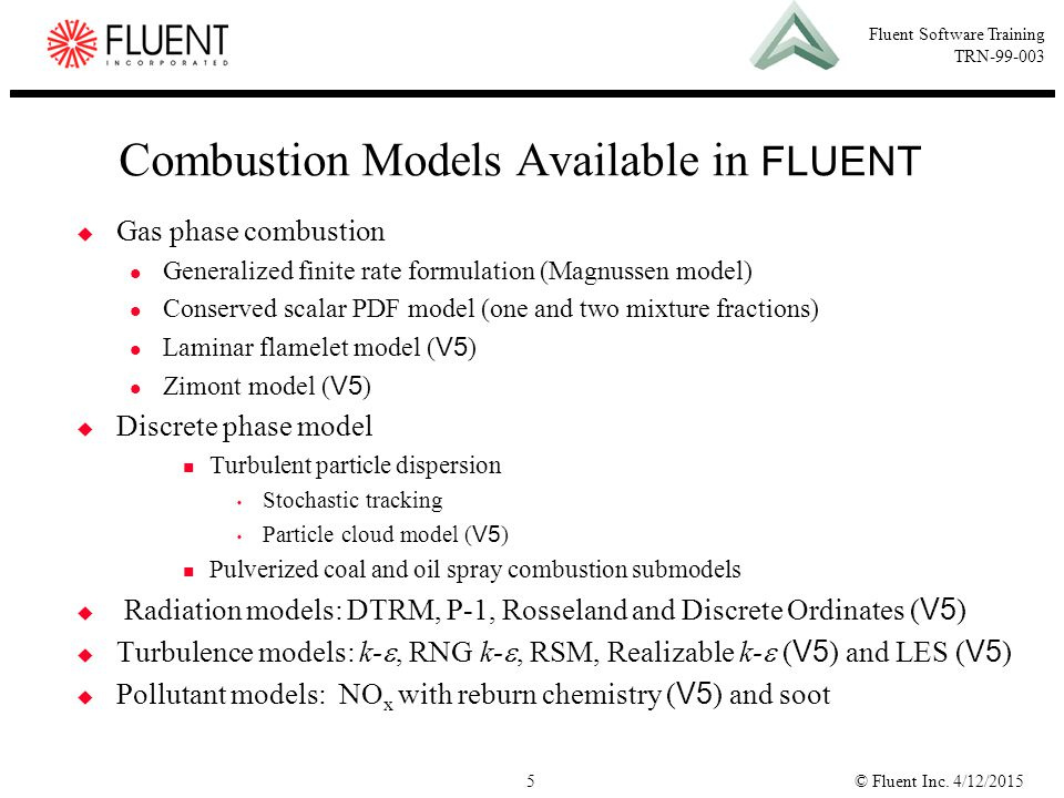 Combustion Models Available in FLUENT