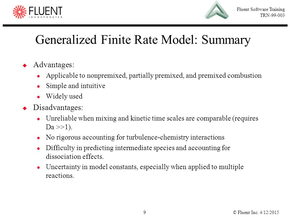 Generalized Finite Rate Model: Summary