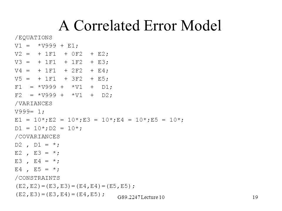 A Correlated Error Model