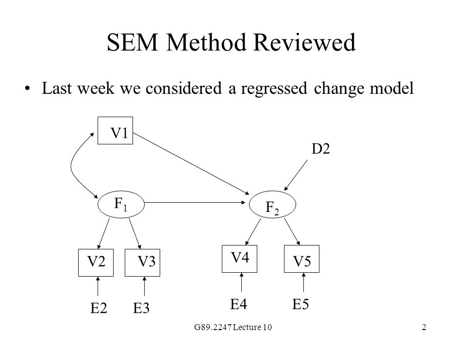 SEM Method Reviewed Last week we considered a regressed change model