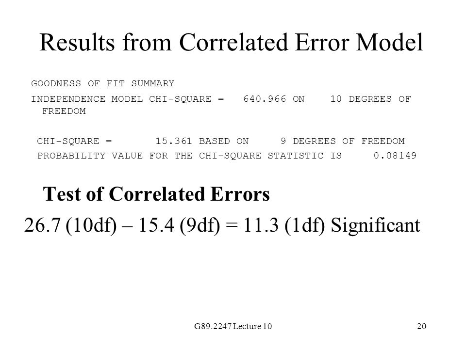 Results from Correlated Error Model