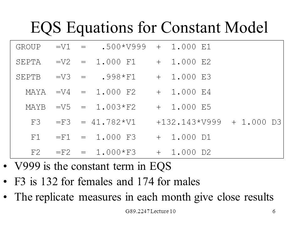 EQS Equations for Constant Model