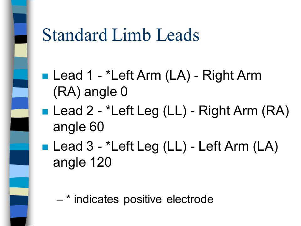 Standard Limb Leads Lead 1 - *Left Arm (LA) - Right Arm (RA) angle 0