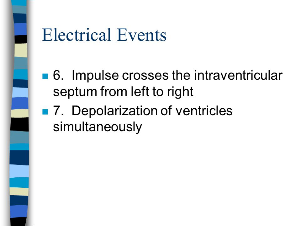 Electrical Events 6. Impulse crosses the intraventricular septum from left to right.