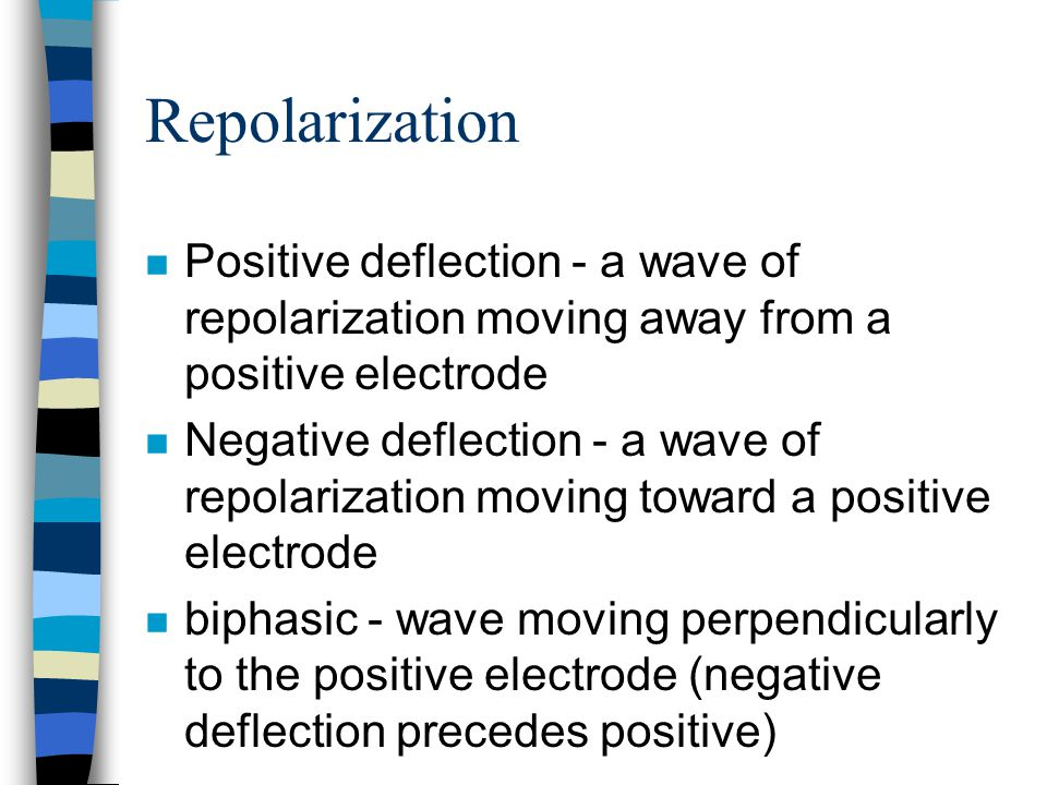 Repolarization Positive deflection - a wave of repolarization moving away from a positive electrode.
