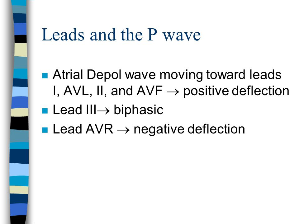 Leads and the P wave Atrial Depol wave moving toward leads I, AVL, II, and AVF  positive deflection.