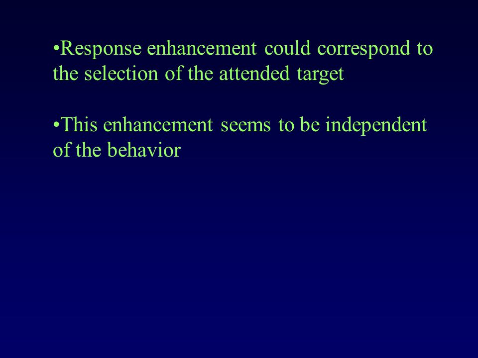 Response enhancement could correspond to the selection of the attended target