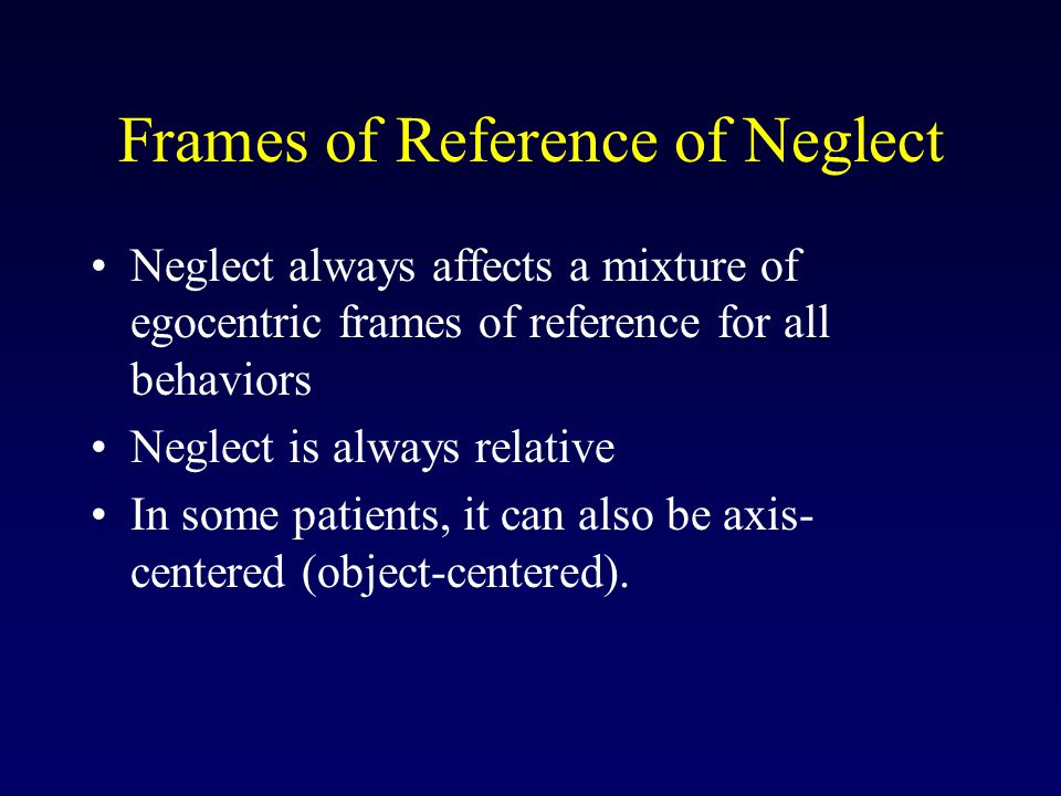 Frames of Reference of Neglect