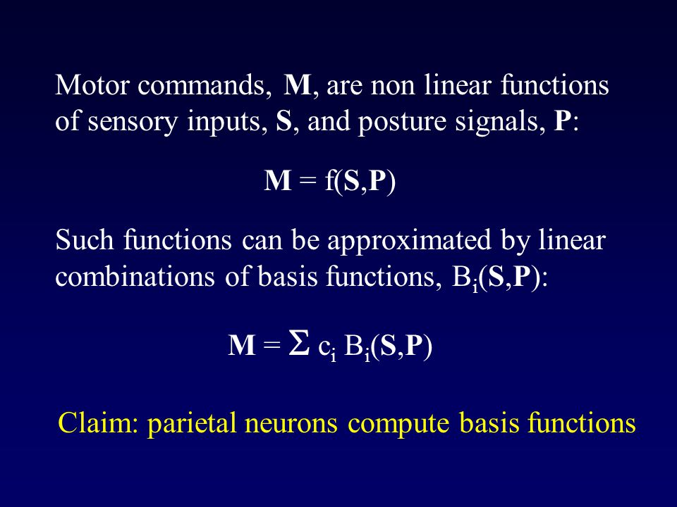 Motor commands, M, are non linear functions of sensory inputs, S, and posture signals, P: